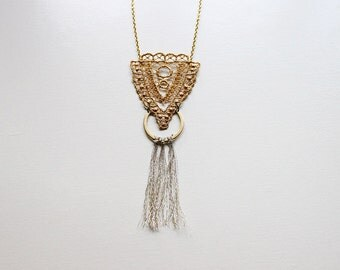 gold fringe necklace // CHRYSOS // tassel necklace / long lace necklace / boho chic / geometric necklace, art deco,  long statement necklace