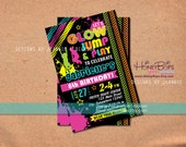 Neon Glow Jump and Play personalized Birthday Invitation - Digital File Only