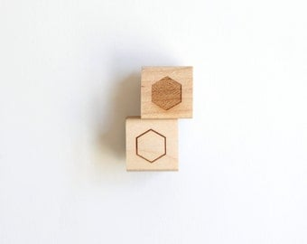 "Mini Hexagons Geometric Rubber Stamps (Wood Mounted) Original Abstract Design Set of 2, Mini Duos 1/2"" size (M9A-9B) Stocking Stuffers"