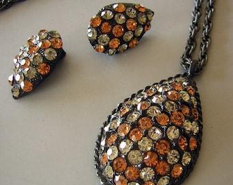 MOD Vintage 60s Orange Black Gray Rhinestone Set Demi Parure - Teardrop Earrings & Large Pendant Necklace