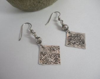 Textured Antiqued Sterling Silver Diamond Shape Dangle Earrings