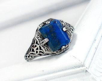Caroline: Sterling Silver and Lapis Lazuli ring - blue gem, antique, Victorian, openwork filigree design, Art Deco jewelry, gemstone ring