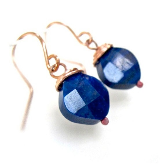 Dark Blue Gemstone Earrings, Lapis Lazuli Stone Dangles, Wire Wrapped Copper, Hand Forged Earwires