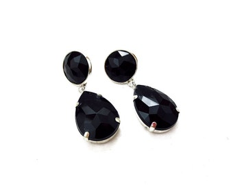 Black Rhinestone Acrylic Drop Earrings, Simple Black Acrylic Rhinestone Earrings, Black Rhinestone Dangle Earrings