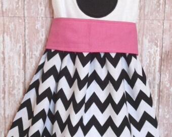 Custom Boutique Clothing Minnie Mouse Dress, Disney Dress, Girls Black White Chevron Dress, Birthday Dress, Pink Sash, Custom Girls Dress