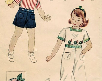 1930s Simplicity 2774 Vintage Sewing Pattern Child's Blouse, Long Pants, Shorts Size 3