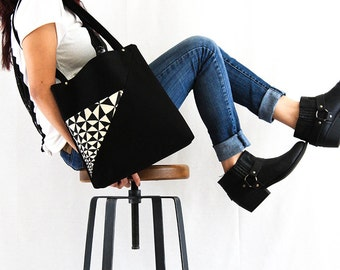 half off sale---BE- Black canvas and linen tote bag with hand painted details-one of a kind