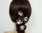 4 Bridal Hair Pins Sets, Wedding Hair clips, Bridal Hair Pieces, Wedding Headpiece,  Ivory Swarovski Pearl Rhinestone Silver Hairpins  H1015