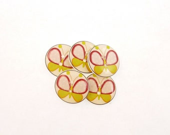 "5 Butterfly Buttons. Light Pink Polka Dot and Lime Green Butterfly Handmade Buttons for sewing. 3/4"" or 20 mm."