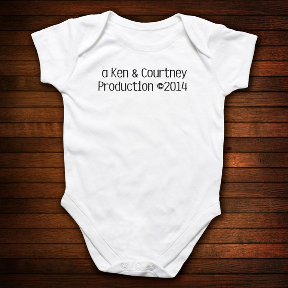 PERSONALIZED BABY One Piece Bodysuit - A (parent name) and (parent name) Production circa 2014
