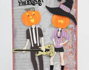You Rock Halloween Hip Pumpkin Head Couple Jack O Lantern Witch Hat Spiders Guitar  ... Handmade Greeting Card