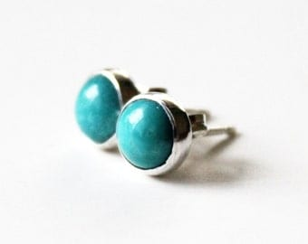 Small Turquoise Stud Earrings - Sterling Silver Turquoise Post Studs - 6mm -  Custom Stones and Colors Available - 925 - Turquoise Earrings