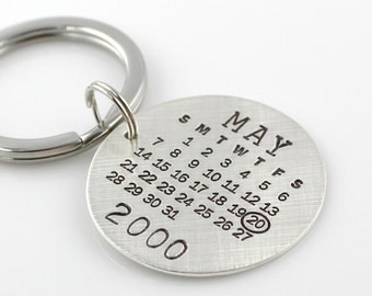 Round Calendar Keychain -  Hand Stamped and Personalized Mark Your Calendar Keychain - personalized sterling silver keychain - save the date