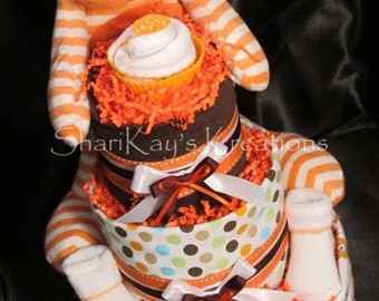 Diaper Cake, Orange, Plush Monkey, Gender Neutral, 3 Tier, Baby Gift, Baby Shower, Centerpiece