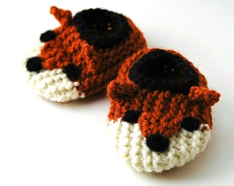 Wool Baby Fox Slippers, Wool Baby Slippers, Crib Shoes, Booties