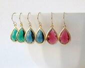 Emerald Green Sapphire Blue Ruby Garnet Crystal Drop Earrings Valentine