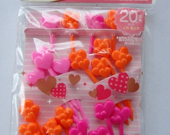Cute Japanese Heart Shaped Bento Picks / Cupcake Toppers - Set Of 20 - Light Pink, Dark Pink, Orange