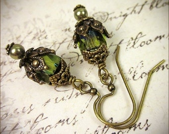 Olive Green Earrings, Woodland Bride, Medieval Jewelry, Tudor, Renaissance Wedding, Bridal Earrings, Victorian Earrings, Garb,  Rhiannon