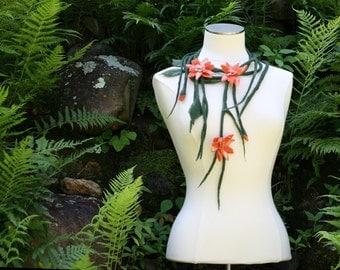 Peachy Orange Flower Necklace Handmade Felt Wool Vines Leaves Wedding Fashion Accessory Gold Summer Fall Spring Pop Of Color - CUSTOM ORDER