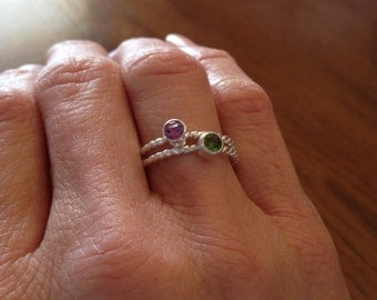 Gemstone Stacking Ring - Birthstone Ring -Mothers Ring - Mothers Day Gift