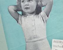 Vintage 50s Knitting Pattern Childs Girls Undies Underwear Vest and Knickers Pants Panties Undershirt Top 1950s original pattern
