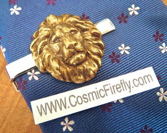 Big Lion Tie Clip Antiqued Brass Lion's Head Gothic Victorian Vintage Inspired Tie Bar Leo Lion Head Men's Accessories Cosmic Firefly