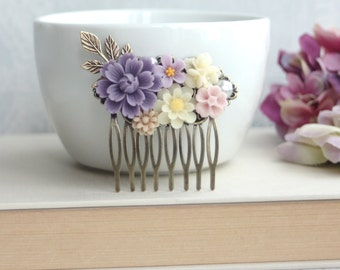 Shades of Purple, Ivory, Pink, Brown Flower Collage Filigree Hair Comb. Vintage Style Comb. Bridesmaids Hair Accessories. Wedding Hair Comb.