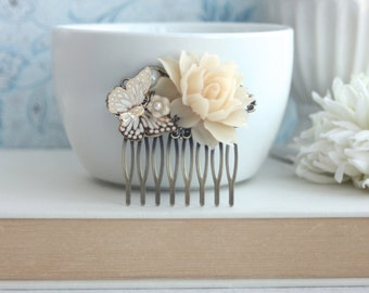 Ivory Rose Flower Butterfly Hair Comb. Floral Rustic Ivory Hair Clip. Bridal Wedding Hair, Vintage Inspired. Bridesmaids Gift. Summer Garden