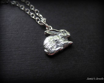 Sterling Silver Rabbit Necklace - Tiny Rabbit Necklace - Sterling Silver Woodland Animal Necklace - Rabbit Lover Gift