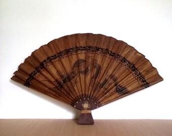 Large Japanese Fan / Vintage 60s Dragon Paper Fan / Asian Oiled Paper Fan