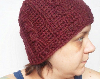 Cabled Crochet Beanie Hat in Chestnut, ready to ship.
