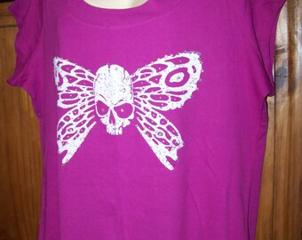 PLUS SIZE WOMEN'S 3X Pink Round Neck Knit T-Shirt with Skull and Wings