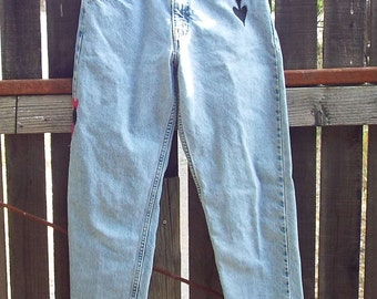 Levi 550 Jeans, Embroidered, Resurrected Jeans, the Missing Club, playing cards, upcycled denim pants, W 29-L 30, boho