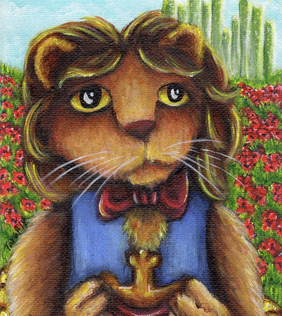 Cowardly Lion Wizard of Oz 5x7 Fine Art Print
