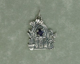 Fairy door silver purple sapphire forget me not flower pendant charm PMC DTPD