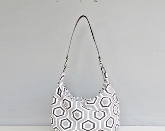 Geometric Zipper Hobo Bag in Grey Hexagons, Honeycomb Slouch Purse, Custom Leather Strap, Zippered Shoulder Bag, Crossbody Purse, USA Made
