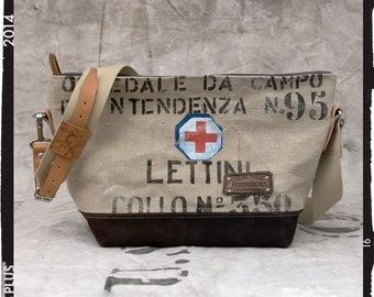Beige Canvas Handbag, Small Tote Bag, Upcycled Handbag,Cross Body Bag, Recycled Italian Military Canvas Leather / Upcycled in GERMANY - 2145