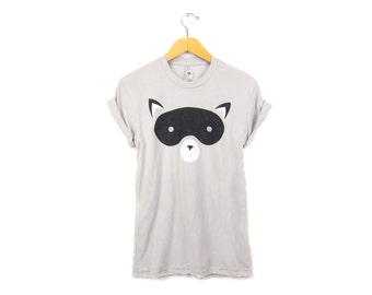 Geo Raccoon Tee - Boyfriend Fit Crew Neck Cotton T-shirt with Rolled Cuffs in Black White and Grey - Women's Size S-3XL Q