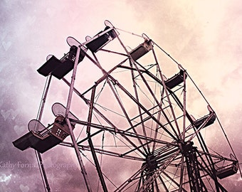 Carnival Ferris Wheel Photos, Baby Girl Nursery Decor, Lavender Pink Ferris Wheel Photography, Dreamy Baby Girl Nursery Decor, Pink Carnival