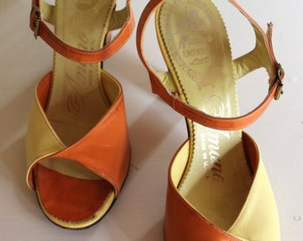 50s Open Toe Sandals - Darling Sunshine Yellow and Orange Two Tone Twist Sandals - Ankle Strap Summer High Heels Size 5.5