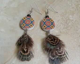 Feather Earrings - Pheasant Feather Earrings, Colorful Beaded Earrings