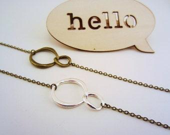 Set of two infinity bracelets. Friendship bracelets, best friend gift. Silver, bronze, copper link charms. Modern infinity charms.