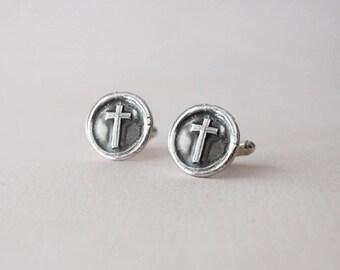 Wax Seal Cross Cufflinks -  Sterling Silver CuffLinks - Men's Cuff Links -  Inspirational Wedding Cuff Links Cross Cufflink