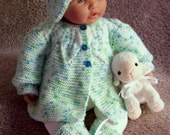 Custom handmade  knit baby or Reborn Green  St Patrick's day  Adorable Sweater hat  booties set Layette- 0 - 6M Lovely Baby Gift or Photos