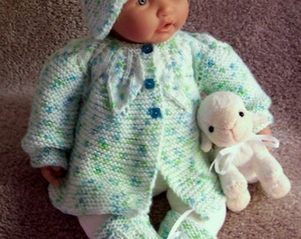 Green baby sweater or Reborn St Patrick's day Green Blend Easter Sweater hat bootie Layette- 0 -6M Ready To Ship