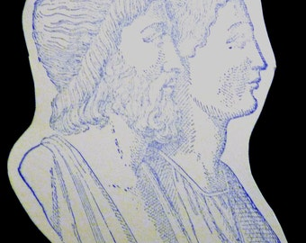 Romans - Classical Men in Profile - Rare UM Rubber Stamp - ATC - Collage - Cardmaking - Crafts - Mixed Media - FREE Shipping