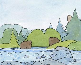 Bears and Owl Illustration Woodland Animals Nursery Art Print