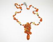 Vintage Orange Art Glass and Lucite Dangling Tassel Pendant Necklace (N-2-3)