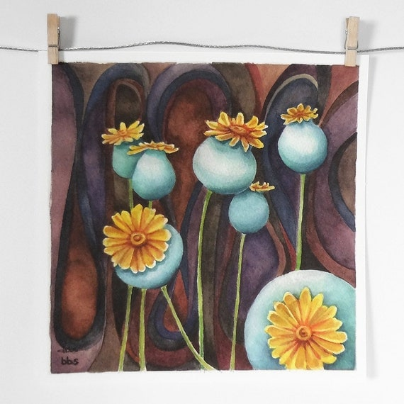 blue poppy pods art print, poppies art print, surreal watercolor painting, blue and purple wall art