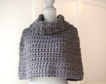 Capelet Cowl Poncho in Charcoal Grey